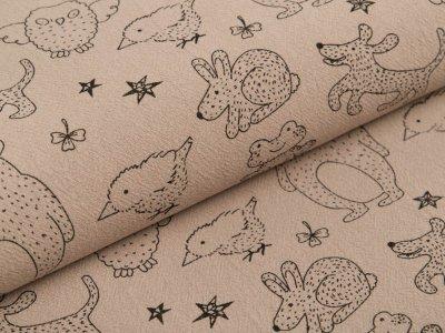 Gewebter Baumwollstoff Jenny - verschiedene Waldtiere und Sterne - khaki