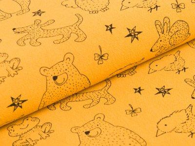 Gewebter Baumwollstoff Jenny - verschiedene Waldtiere und Sterne - ocker