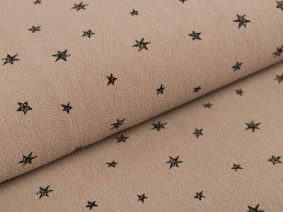 Gewebter Baumwollstoff Jenny - unregelmäßige Sterne - khaki