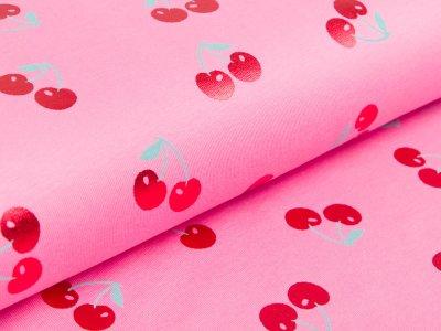 Jersey mit Foliendruck - süße Kirschen - pink