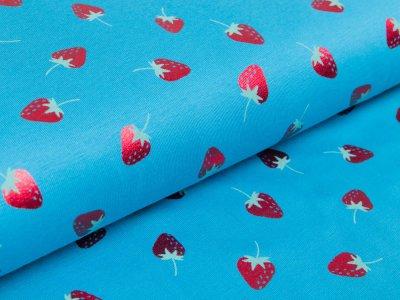 Jersey mit Foliendruck - fruchtige Erdbeeren - türkis