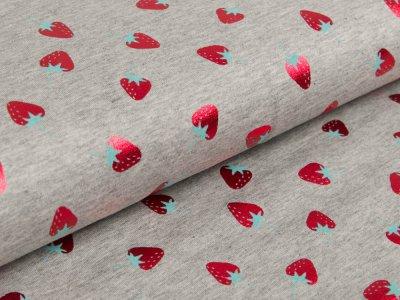 Jersey mit Foliendruck - fruchtige Erdbeeren - meliert grau