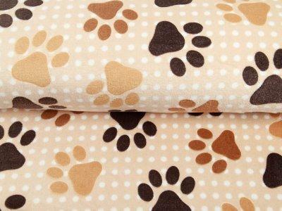 Wellnessfleece - Hundpfötchen - beige