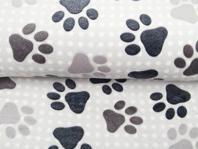 Wellnessfleece - Hundpfötchen - helles grau