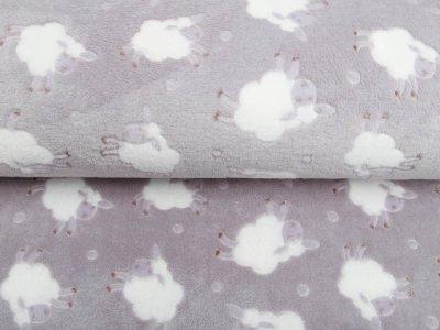 Wellnessfleece - knuffige Schafe - helles grau