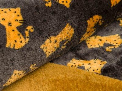 Wellnessfleece - Katzen - dunkles grau/gelb