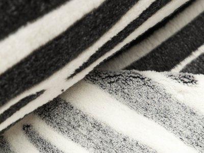Jacquard Wellnessfleece - Zebrastreifen - schwarz/weiß
