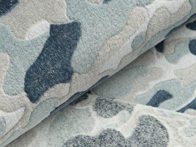 Jacquard Wellnessfleece - Camouflage - blau