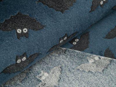 Jacquard Wellnessfleece - Fledermäuse - dunkles blau