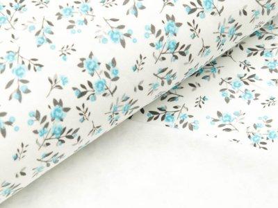 Interlock - kleine Blumenzweige - weiß/aqua