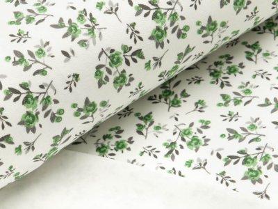 Interlock - kleine Blumenzweige - weiß/grün