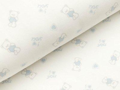 Interlock - kleine Bärchen mit Herzen - weiß/blau