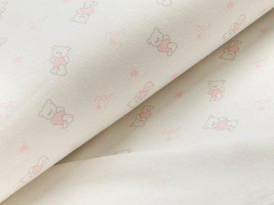 Interlock - kleine Bärchen mit Herzen - weiß/rosa