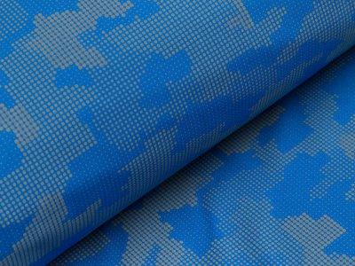 Reflektierender Jackenstoff Softshell - Pixel-Camouflage - blau