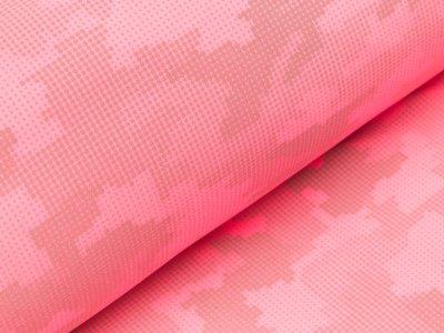 Reflektierender Jackenstoff Softshell - Pixel-Camouflage - neon pink