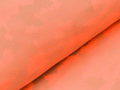 Reflektierender Jackenstoff Softshell - Pixel-Camouflage - neon orange