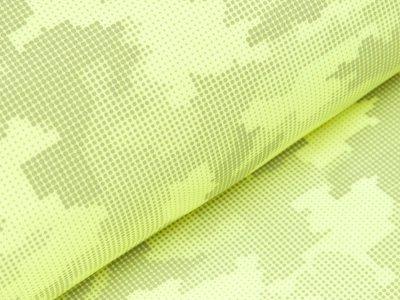 Reflektierender Jackenstoff Softshell - Pixel-Camouflage - neon gelb