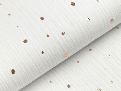 Musselin Double Gauze mit Foliendruck - unregelmäßige Punkte - weiß/gold