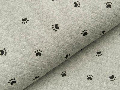 Jersey Rautenstepper - Hundepfötchen - meliert grau