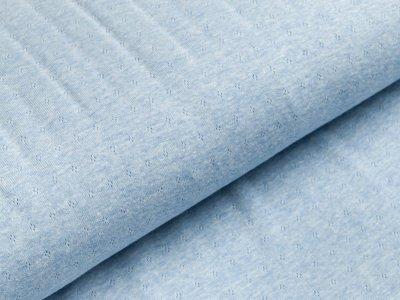 """Baumwolle-Feinstrick Jersey """"Pointoille Lochmuster"""" - meliert blau"""