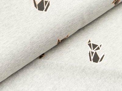 Leicht angerauter Sweat mit Foliendruck - Origami Katzen - meliert grau