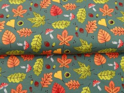 Sweat French Terry - Herbstgestöber - altgrün