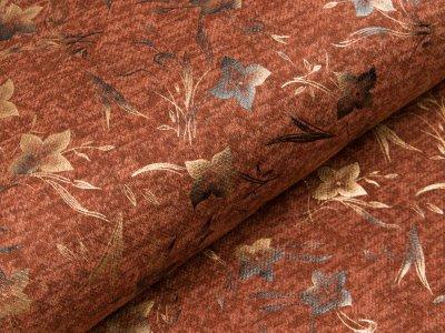 Viskose Strick-Jersey mit Foliendruck - Blumen - meliert rost/braun