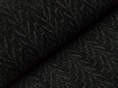 Chenille Strickstoff - Zopfmuster - schwarz