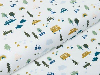 Webware Baumwolle Popeline - Autos und Regenbögen - wollweiß