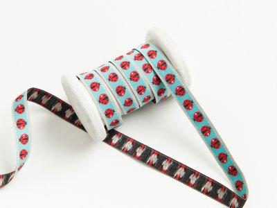 "Webband Farbenmix ""Ladybug"" by Cherry Picking - Marienkäfer - mint"