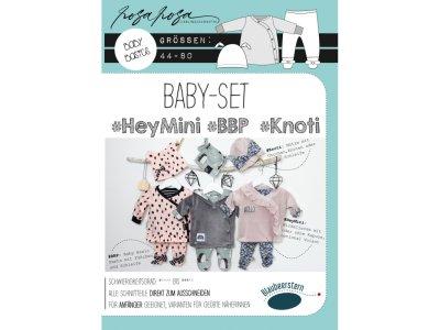 Papierschnittmuster Blaubeerstern RosaRosa Baby-Set Hey Mini - Pants/Wickeljacke/Knotenmütze - Mädchen/Jungs