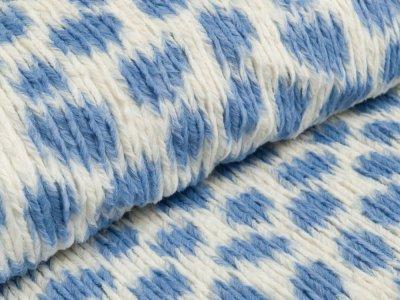 Sommer-Wellnessfleece - Dots - wollweiß/altblau