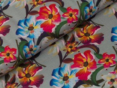 Jersey - große Blumen - grau
