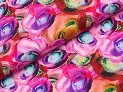 Jersey Digitaldruck - gezeichnete Tulpen - rosa/flieder/mint