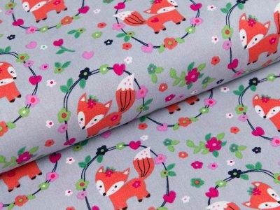 Webware Popeline - kleine Füchse im Blumenmedaillon - grau