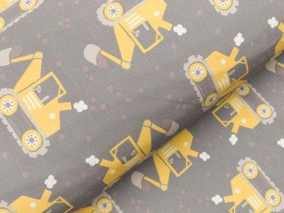 Softshell Digitaldruck - Bagger und Punkte - grau