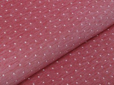 Jersey Melange Piqué Sanetta - kleine Punkte - meliert rot