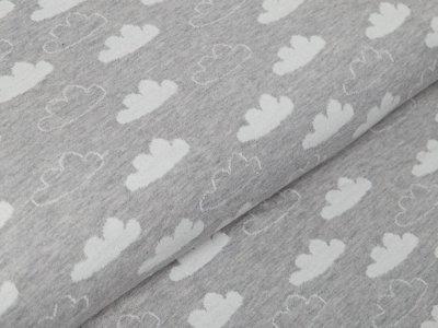 Jacquard Melange Sanetta - Wolken - meliert grau