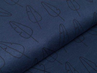 Interlock Sanetta - Blätter - jeansblau