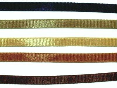 9 mm breites geripptes Samtband beige