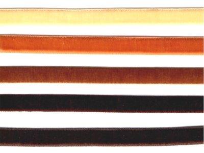 9 mm breites elastisches Samtband vanille