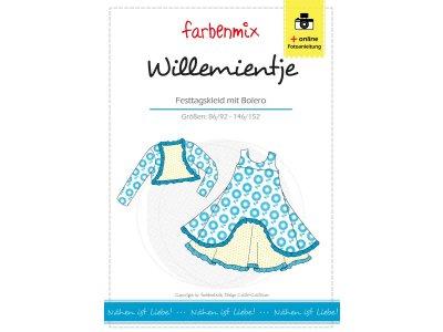 Papierschnittmuster Farbenmix Festtagskleid + Bolero WILLEMIENTJE - Mädchen