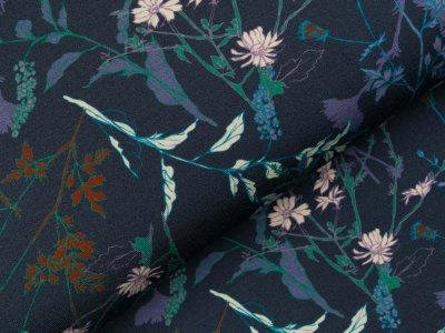 Viskose-Jersey - Wildblumen - jeansblau