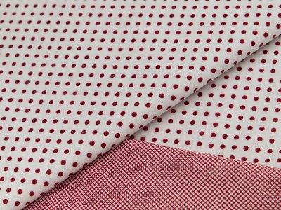 Gewebter Leinenstoff - unregelmäßige Punkte und mini Karos - weiß/rot