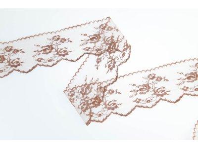 Spitze 70 mm - Blumen - braun