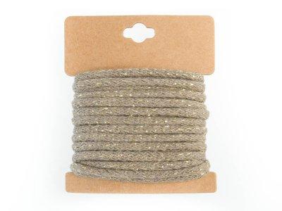 Baumwollkordel mit Glitzereffekt 5 mm - 5m Packung - beige
