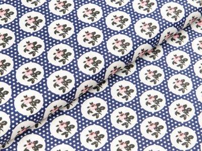 Gew. Baumwollstoff  - Rosen in Kreisen und Punkte - dunkles blau