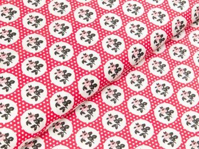 Gew. Baumwollstoff  - Rosen in Kreisen und Punkte - rot