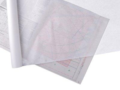 Schnittpapier 70 cm - 10 m Rolle -  weiß transparent