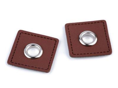 Aufnäh-Ösen auf Kunstleder 8 mm 4 Stück - uni braun